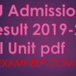 RU Admission Result 2019 All Units pdf